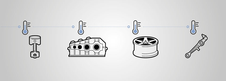 Vier Anwendungsbeispiele für Temperierung von Kühlstrecken mit Thermometer Icon und Produkt Icons