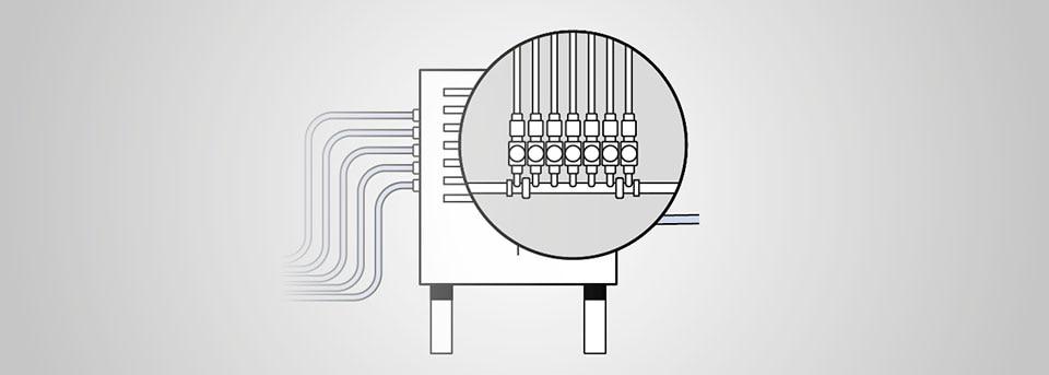 Zeichnung eines modularen Systems von Bürkert mit gezoomtem Ausschnitt
